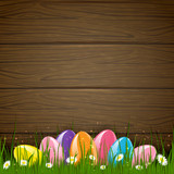 Easter wooden background