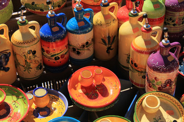 Pottery at a market