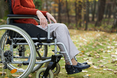 Lady on wheelchair in the forest
