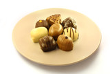chocolate bonbons on plate