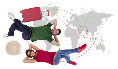 man and woman traveler