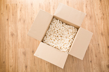 Top View of an Open Parcel or Moving Box