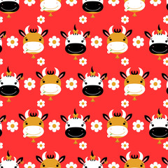 Seamless pattern with cute cartoon cows