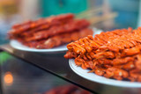 Chicken intestines, pig ears and pig intestines barbeque screw,