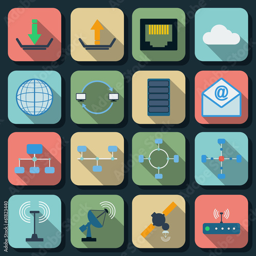 Network flat vector icons