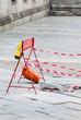 Rottura pavimento stradale, lavori in corso