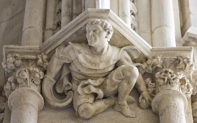 Basque pelota player sculpture, Bayonne Cathedral, Aquitaine