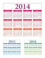 Calendar vector 2014 2015 2016 illustration v.10