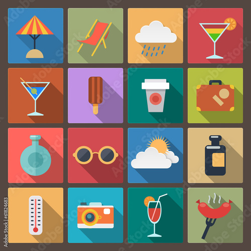 set of sixteen rest icons in flat design style