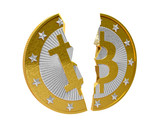 Broken Bitcoin - isolated on white