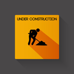 Under construction long shadow illustration