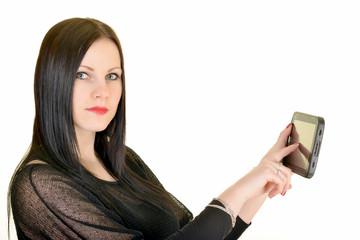 Sexy Femme avec Ordinateur tablette