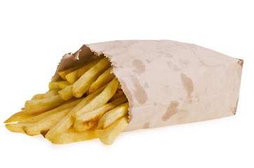 French fries in paper bag