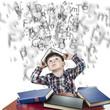 Niño con una pila de libros bajo una lluvia de letras