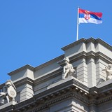 Serbia - governmental building with flag