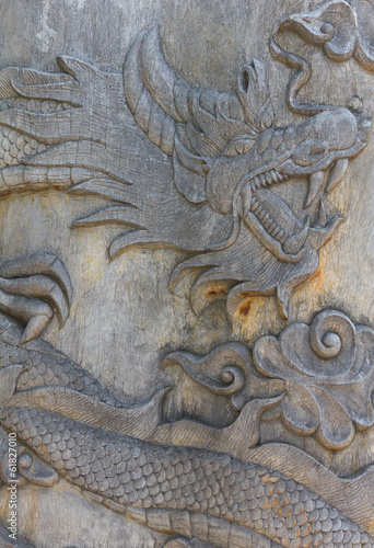 Oriental wooden dragon carving