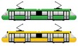 modern tram, green and yellow color - 61827639