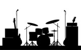 Rock Band Equipment Silhouette
