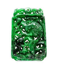 Burma jade fish carving