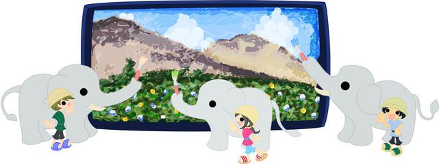 3匹の象が大きな風景画を描いている。