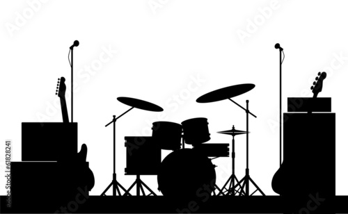 Rock Band Equipment Silhouette - 61828241