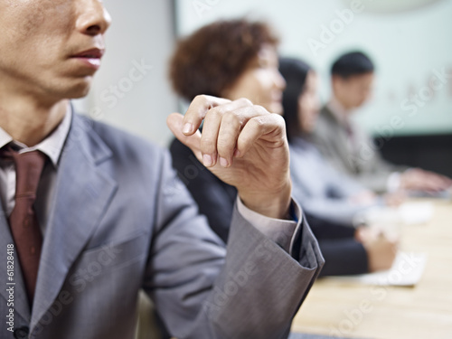 business people negotiating during meeting