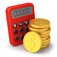Calculator and golden coins
