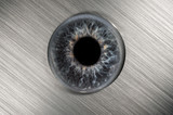 eyeball on brushed metal