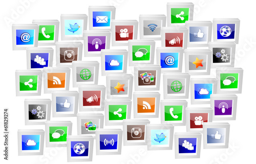 social media icons framed