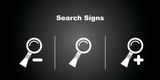 3 Search Icons on Black Background.