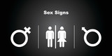 3 Sex Icons on Black Background.