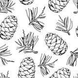Pine cones and pine branches pattern