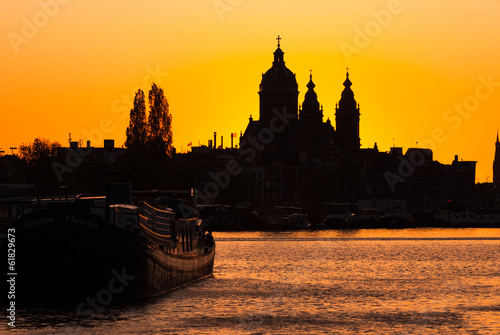 Silhouette of the church of Saint Nicholas at sunset, Amsterdam.