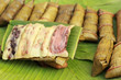 Sticky rice wrapped in banana leaves - dessert Thailand.