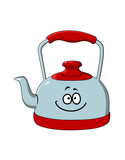 Cartoon kettle with a happy smile