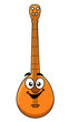 Fun cartoon banjo with a happy smiling face
