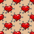 Seamless pattern of hearts studded with nails