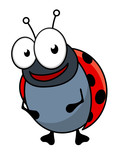 Cute little red ladybug cartoon character