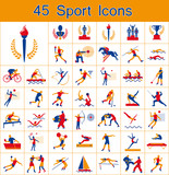 Set of 45 Olympic summer games icons poster
