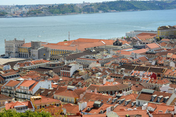 Alfama District and Tejo River from Castle of São Jorge, Lisbon