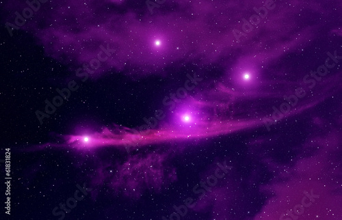 Space background with nebula and bright stars.