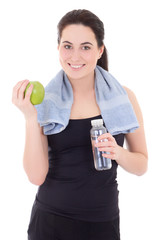 young beautiful sporty woman with bottle of mineral water and ap