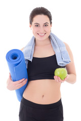 happy slim woman with yoga mat, towel and apple isolated on whit