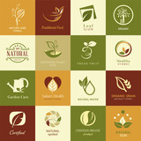 Set of icons and symbols for nature health and organic
