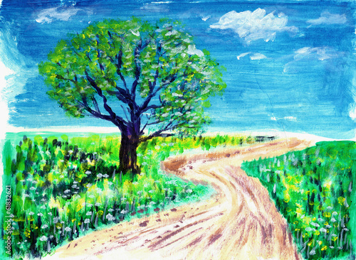 oil painting road and tree