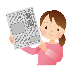 新聞を持つ女性