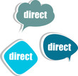 direct word on modern banner design template. set of stickers