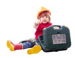baby in hardhat with drill and toolbox