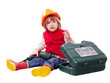 Baby builder in hardhat with working tools