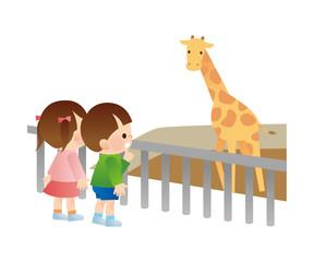 動物を見る子供